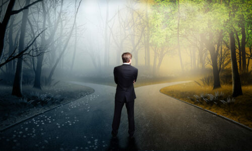 man stood at a cross roads - counselling with Mary Fisher Counselling